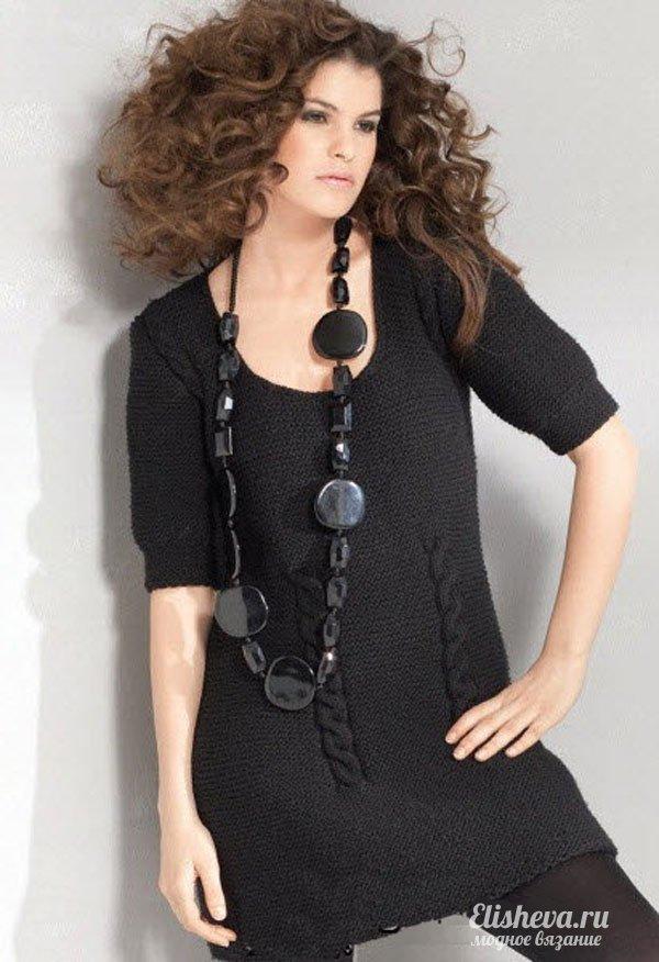 Черное модное платье-туника
