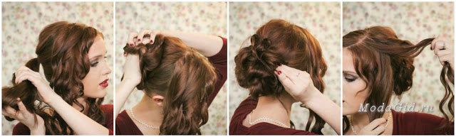 Прически из накрученных волос своими руками видео