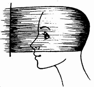 Схема стрижки волос затылочной