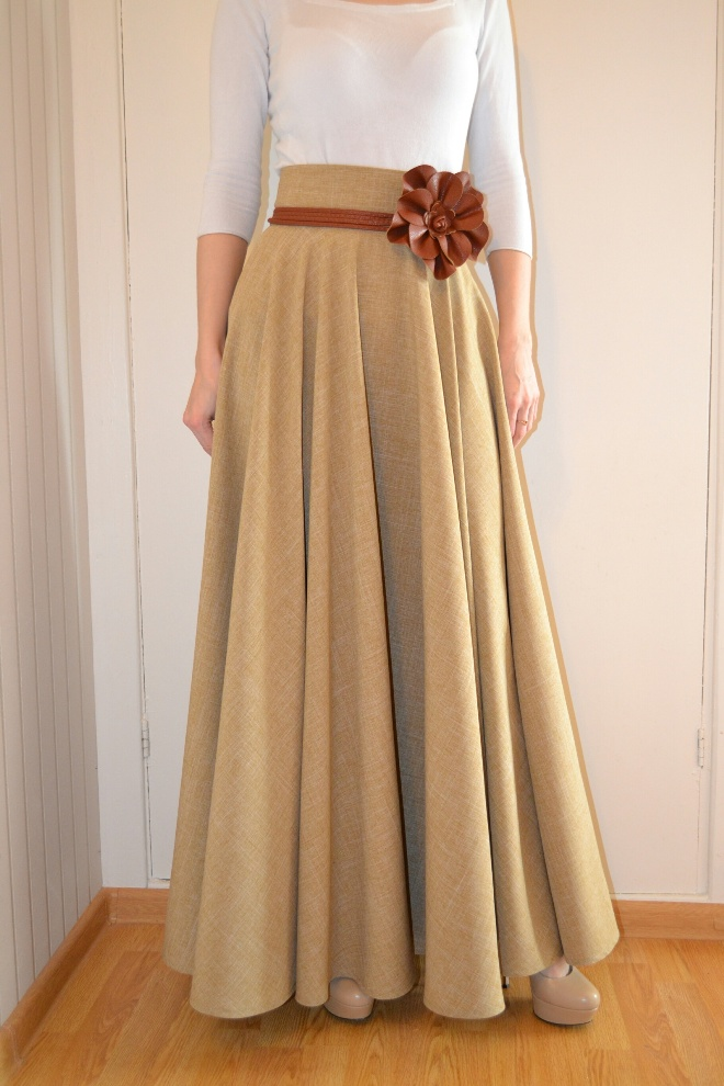 фасон длинно широкой юбки: