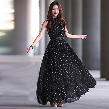 С чем носить длинное шифоновое платье в горошек