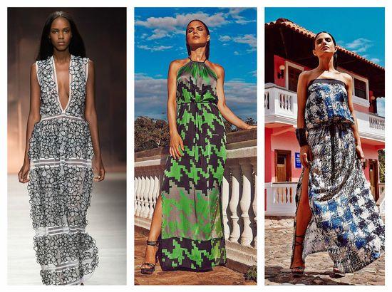 В моде также длинные сарафаны с орнаментами: этномотивами, флористикой, геометрическими узорами. alt