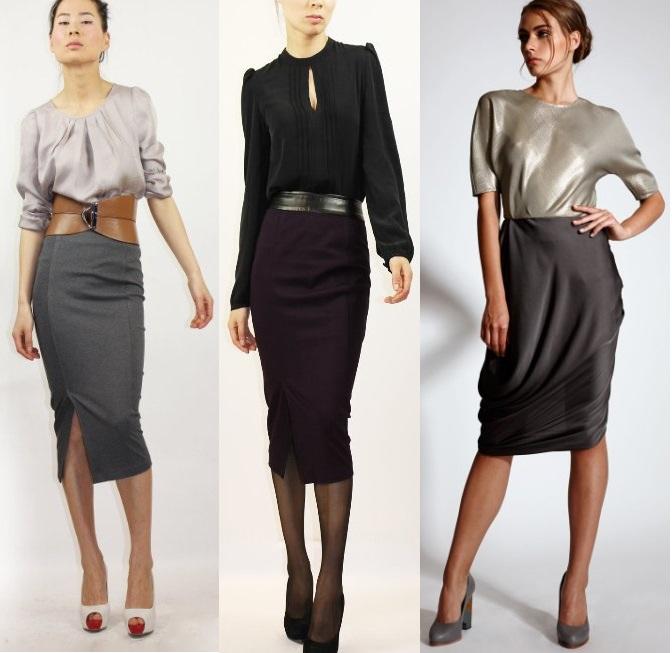 Деловой Костюм Для Женщины Из Узкой Юбки И Блузки