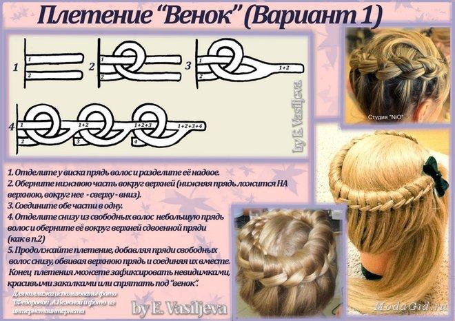 """Варианты плетения косы """"Венок"""""""