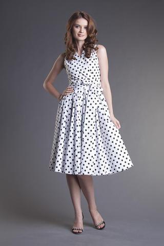 Темно-синее платье в белый горошек - Повседневные платьяПовседневные платья; Темно-синее платье в белый горошек
