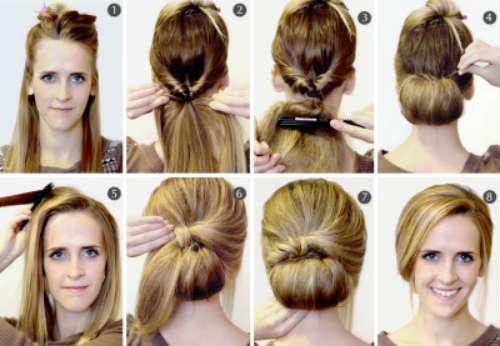 Причёска на каждый день на длинные волосы с челкой