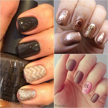 Дизайн на коричневых ногтях