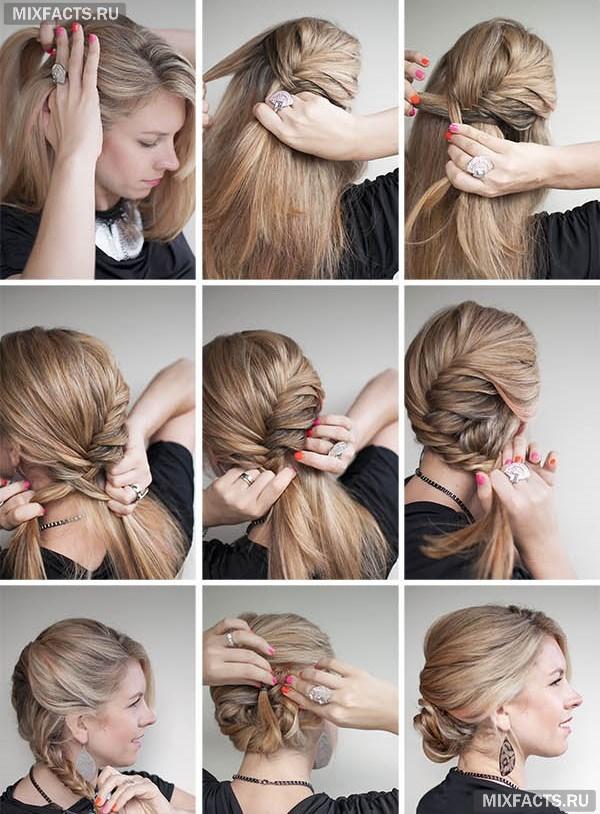 Красивые пучки на длинные волосы своими руками