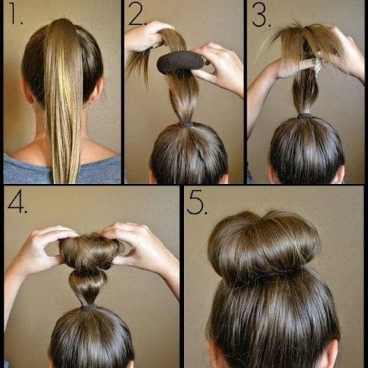 Как на средние волосы сделать пучок