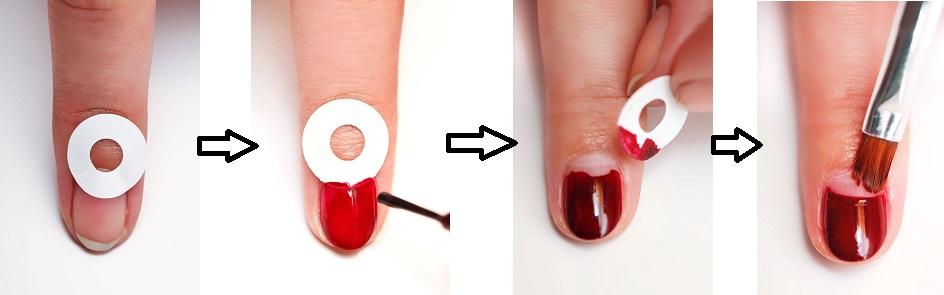 Как сделать лунки на ногтях из лака